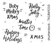 set of vector winter quotes....   Shutterstock .eps vector #761869210