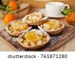 baked apple tangerine tart... | Shutterstock . vector #761871280