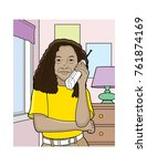 african american girl talking...   Shutterstock .eps vector #761874169