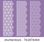 vector set of line borders with ... | Shutterstock .eps vector #761876464