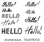hello vector logo. brush... | Shutterstock .eps vector #761878723