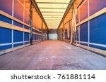 cargo area of a curtain side...   Shutterstock . vector #761881114
