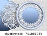 template of wedding greetings... | Shutterstock .eps vector #761888758