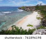 close up of a white sand beach... | Shutterstock . vector #761896198