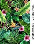 summer floral watercolor banner.... | Shutterstock . vector #761897938