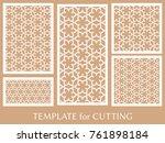 decorative panels set for laser ... | Shutterstock .eps vector #761898184