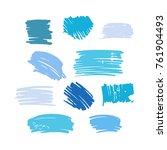 blue vector  strokes of marker...   Shutterstock .eps vector #761904493