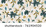 seamless floral pattern in... | Shutterstock .eps vector #761904520