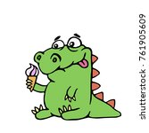 cute dinosaur keeps ice cream... | Shutterstock . vector #761905609