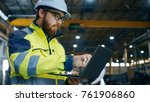 industrial engineer in hard hat ... | Shutterstock . vector #761906860