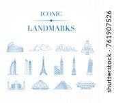 set of 14 blue iconic landmarks ... | Shutterstock .eps vector #761907526