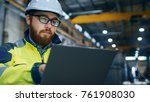 industrial engineer in hard hat ... | Shutterstock . vector #761908030