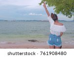 girl was glad to spend the... | Shutterstock . vector #761908480
