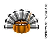 pumpkin with turkey feathers on ... | Shutterstock .eps vector #761908540