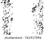 black musical notes flying... | Shutterstock .eps vector #761917096