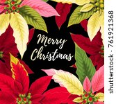 christmas card with poinsettia | Shutterstock .eps vector #761921368