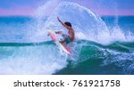riding the waves. jaco beach ... | Shutterstock . vector #761921758