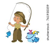fisher boy infant cartoon....   Shutterstock .eps vector #761930359