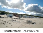 little beach cabins at a north... | Shutterstock . vector #761932978