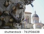 the fountain and the cathedral. ... | Shutterstock . vector #761936638