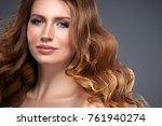 beautiful hair woman beauty... | Shutterstock . vector #761940274