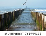 beams above the beach of... | Shutterstock . vector #761944138