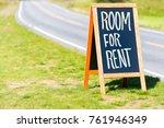 room for rent road sign in... | Shutterstock . vector #761946349