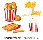 big group of fast food products.... | Shutterstock .eps vector #761948413
