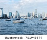 river boats and building nyc | Shutterstock . vector #761949574