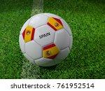 3d rendering of white soccer... | Shutterstock . vector #761952514