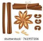 cinnamon stick  star anise ... | Shutterstock .eps vector #761957206