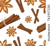 cinnamon stick  star anise ...   Shutterstock .eps vector #761957230