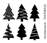 set of six christmas trees in... | Shutterstock .eps vector #761958523