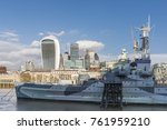 river thames with hms belfast ... | Shutterstock . vector #761959210