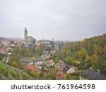 terraced vineyards in town of... | Shutterstock . vector #761964598