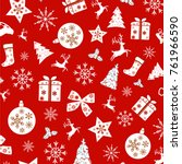 repeating christmas pattern... | Shutterstock .eps vector #761966590