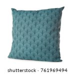 soft blue pillow  isolated on... | Shutterstock . vector #761969494