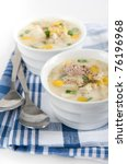 potato and leek soup with cream | Shutterstock . vector #76196968