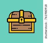 treasure chest   flat vector... | Shutterstock .eps vector #761980918