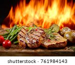 freshly grilled steaks and...   Shutterstock . vector #761984143