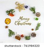 isolated merry chrsitmas... | Shutterstock . vector #761984320