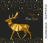 christmas card with gold deer ... | Shutterstock .eps vector #761991913