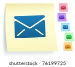 mail icon on post it note paper ... | Shutterstock .eps vector #76199725