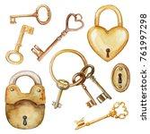 vintage set with golden keys... | Shutterstock . vector #761997298