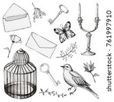 vintage set with bird cage ... | Shutterstock . vector #761997910