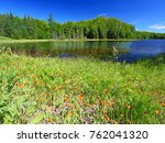 Lake Landscape In The Northern...