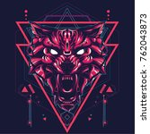 wild wolf in sacred geometric... | Shutterstock .eps vector #762043873