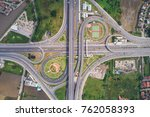 intersection traffic circle... | Shutterstock . vector #762058393