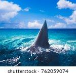 great white shark fin above... | Shutterstock . vector #762059074
