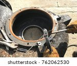 welder is welding nut and bolt... | Shutterstock . vector #762062530